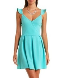 Charlotte russe ruffle strap surplice skater dress medium 60597