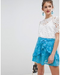 ASOS DESIGN Frill Mini Skirt With In Soft Jacquard