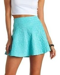 Charlotte Russe High Waisted Textured Skater Skirt