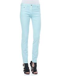 Roberto Cavalli 5 Pocket Solid Skinny Jeans Light Blue