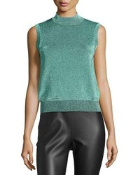 M Missoni Sleeveless Metallic Mock Turtleneck Top Aqua
