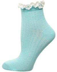 Dorothy Perkins Aqua Frill Top Contrast Socks