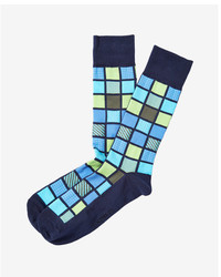 Express Multicolor Window Square Dresss Socks