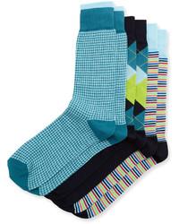 Neiman Marcus Three Pair Sock Set Turquoisenavygreen