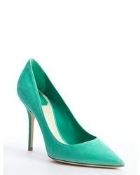 Green suede pointed toe pumps medium 55066