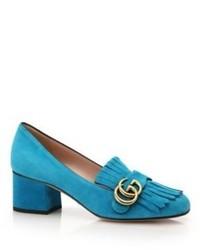 Marmont gg suede block heel pumps medium 454602
