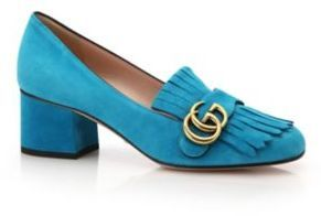 2e590e788b64 Gucci Marmont Gg Suede Block Heel Pumps, $750 | Saks Fifth Avenue ...