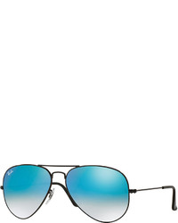 Ray-Ban Ombre Mirrored Aviator Sunglasses Blackblue
