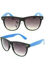 Overstock 350c Black Blue Plastic Sunglasses