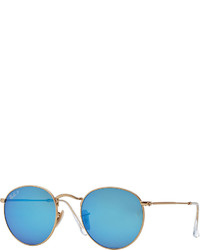 Ray-Ban Polarized Round Metal Frame Sunglasses With Blue Mirror Lens