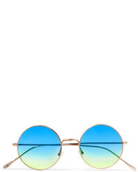 Illesteva Porto Cervo Oversized Round Frame Gold Tone Mirrored Sunglasses Blue