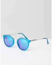 Jeepers Peepers Round Blue Sunglasses With Blue Mirror Lens