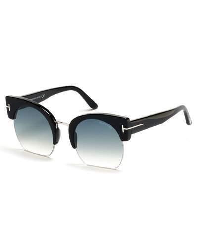 Tom Ford Savannah Semi Rimless Cropped Round Sunglasses Turquoiseblack