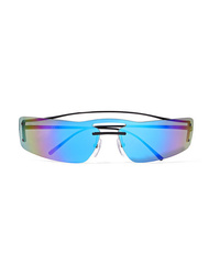 Prada Square Frame Metal Mirrored Sunglasses