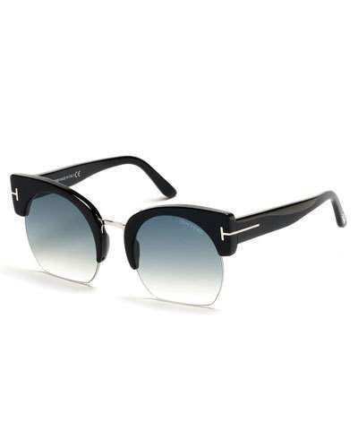 Tom Ford Savannah Semi Rimless Cropped Round Sunglasses Turquoiseblack