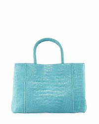 Nancy Gonzalez Crocodile Large Sectional Tote Bag Turquoise Blue