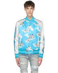 Amiri Blue White Silk Graphic Bomber Jacket