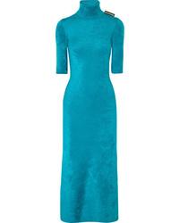 Balenciaga Stretch Velvet Turtleneck Midi Dress