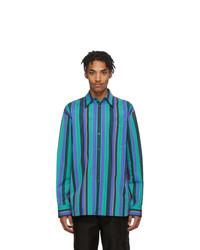 Aquamarine Vertical Striped Long Sleeve Shirt