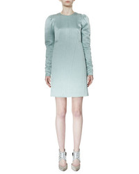 Lanvin Long Sleeve Degrade Slip Dress Aqua