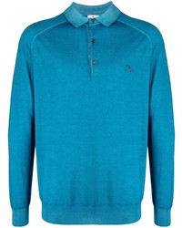 Etro Logo Embroidered Wool Polo Shirt
