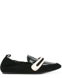 Bailarinas de cuero de rayas horizontales negras de Lanvin