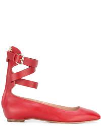 Bailarinas de cuero rojas de Valentino Garavani