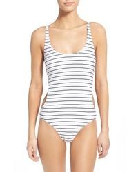 Bañador de rayas horizontales en blanco y negro