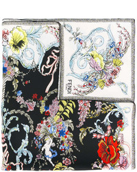 Bandana con print de flores negra de Fendi