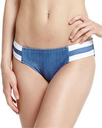 Bas de bikini en denim à rayures horizontales bleu Seafolly