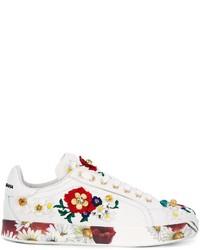 Baskets basses à fleurs blanches Dolce & Gabbana