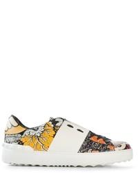 Baskets basses à fleurs blanches Valentino Garavani