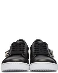 Baskets basses en cuir noires Versus