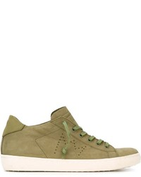 Baskets basses en cuir olive Leather Crown