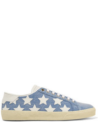 Baskets basses en denim bleu clair Saint Laurent