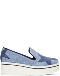 Baskets basses en denim imprimées bleu clair Stella McCartney