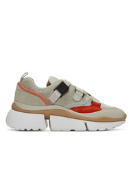 Chloé Beige And Orange Sonnie Sneakers