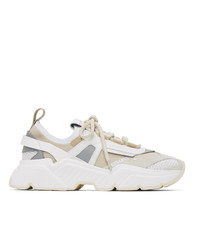 Dolce and Gabbana Beige Stretch Knit Daymaster Sneakers
