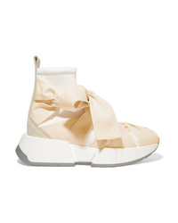 MM6 MAISON MARGIELA Stretch Knit Canvas And Suede Sneakers