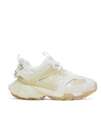 Balenciaga White Clear Sole Track Sneakers