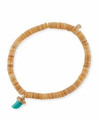 5mm heishi beaded bracelet w turquoise diamond horn charm medium 3698302