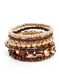 Two tone wood bead stretch bracelet set medium 270080