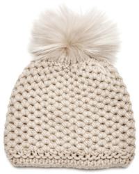 Inverni Beige Cashmere Beanie Hat With Fox Fur Pom Pom