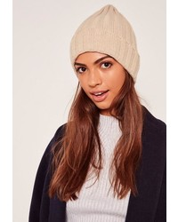 Missguided Nude Classic Ribbed Beanie