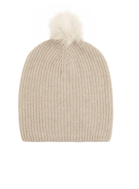 94d761e809d ... Beige Beanies Rag and Bone Rag Bone Cynthia Fur Pompom Cashmere Blend Beanie  Hat ...