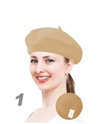 Selini Ladys Beige Color Wool Solid Colors Beret Wh4010