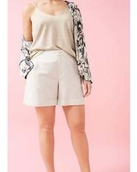 Violeta BY MANGO Linen Cotton Blend Bermuda Short