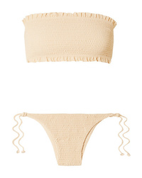 Faithfull The Brand Behati And Candice Shirred Bandeau Bikini
