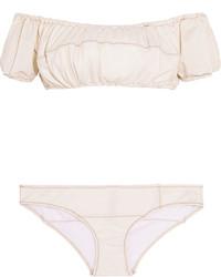 Lisa Marie Fernandez Leandra Off The Shoulder Stretch Denim Bikini Cream
