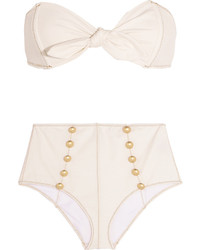 Lisa Marie Fernandez Poppy Stretch Denim Bandeau Bikini Cream